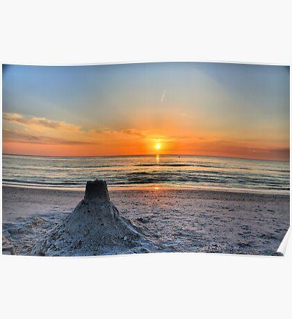 Sand Castle Sunset HDR Poster