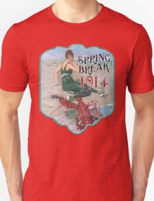 Spring Break 1914 - Summer Vacation Parody Design - Retro Bathing Beauty at the Beach - Lobster Musician T-Shirt