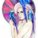 Girl with Parrot by Slaveika Aladjova