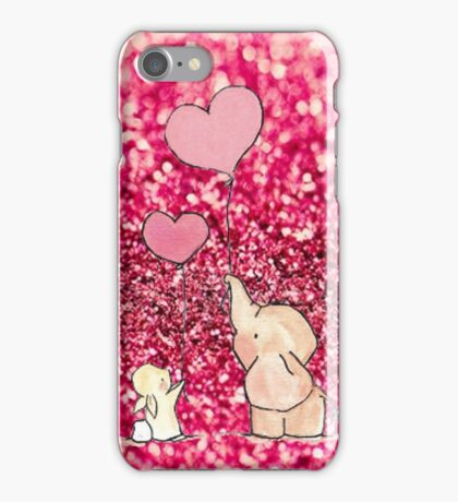 pink glitter elephant iPhone Case/Skin