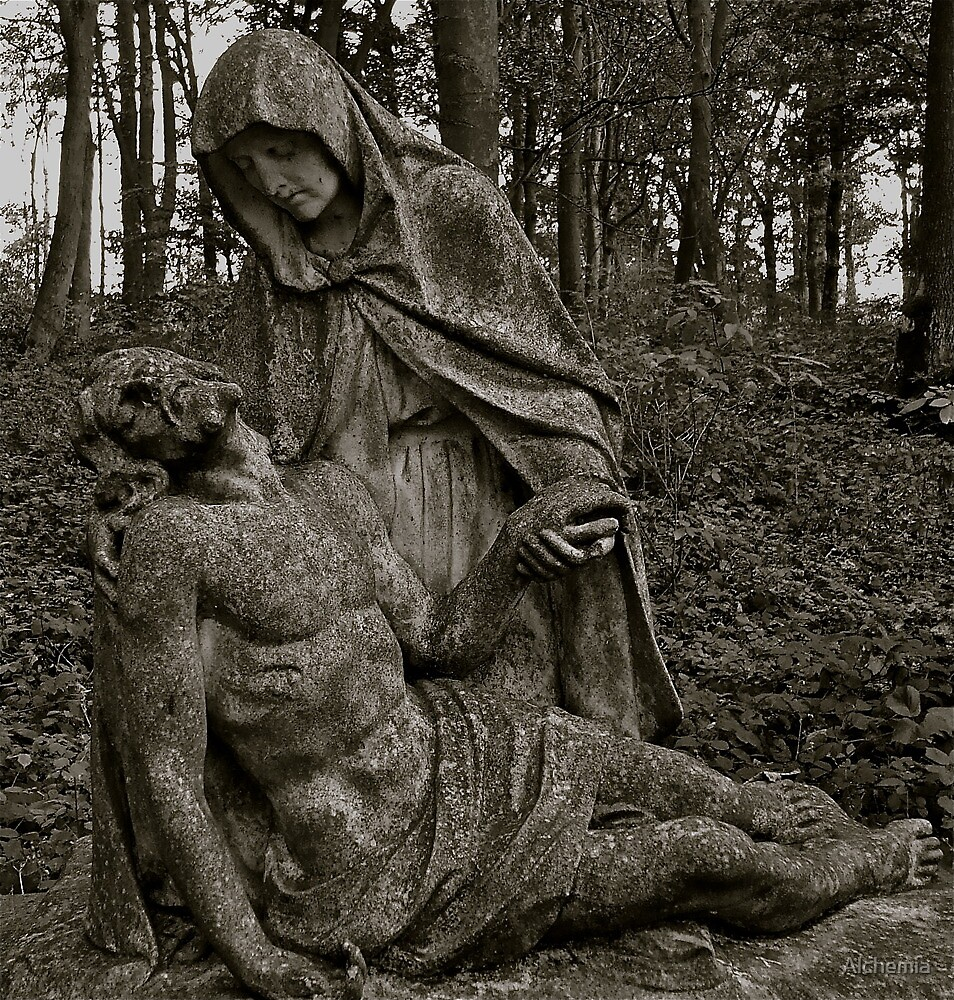 pieta Mary mourning her dead son by Alchemia