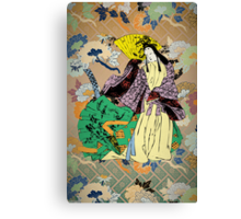Japanese Traditional Woman with Flower Pattern Canvas Print