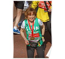 Sian Williams BBC Breakfast presenter at the finish line of the London Marathon Poster