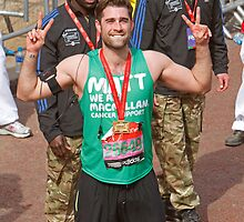 Matthew Johnson after finishing the London Marathon 2013 by Keith Larby