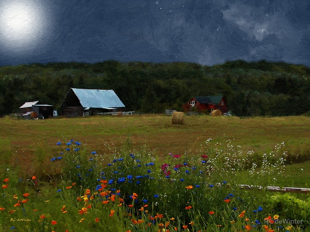 Full Flower Moon Over the Farm by RC deWinter