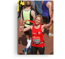 Sophie Raworth from BBC Breakfast finishing the London Marathon Canvas Print