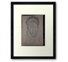 Self-portrait with towel -(220413)- Pencil/white A5 sketchbook Framed Print