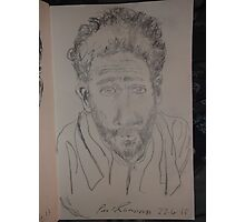 Self-portrait with towel -(220413)- Pencil/white A5 sketchbook Photographic Print
