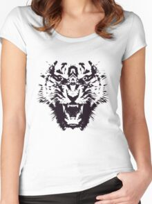 Black and White Abstract Jagged Angry Tiger Women's Fitted Scoop T-Shirt