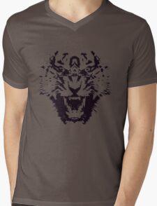 Black and White Abstract Jagged Angry Tiger Mens V-Neck T-Shirt