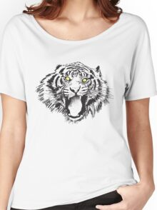 Growling Tiger in Black with Yellow Eyes Women's Relaxed Fit T-Shirt