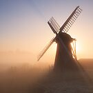 Through the mist - Herringfleet Windpump, Suffolk by Justin Minns
