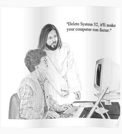 IT Tech Jesus Poster