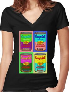 Vegetarian Campbell's Warhol Tribute Women's Fitted V-Neck T-Shirt