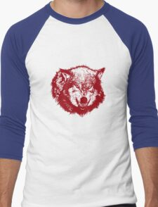 Angry Wolf in Red Men's Baseball ¾ T-Shirt