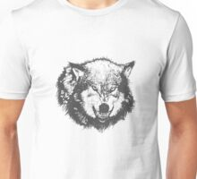 Angry Wolf in Black Unisex T-Shirt