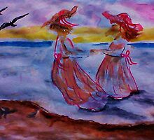 Little girls in long dresses at the beach, watercolor by Anna  Lewis