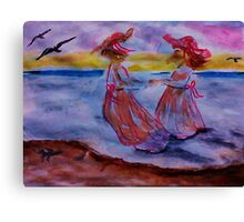 Little girls in long dresses at the beach, watercolor Canvas Print