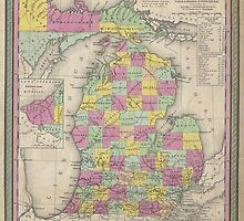 Vintage Map of Michigan (1853) by alleycatshirts
