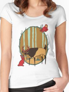 Lantern-Deer and Friends Women's Fitted Scoop T-Shirt