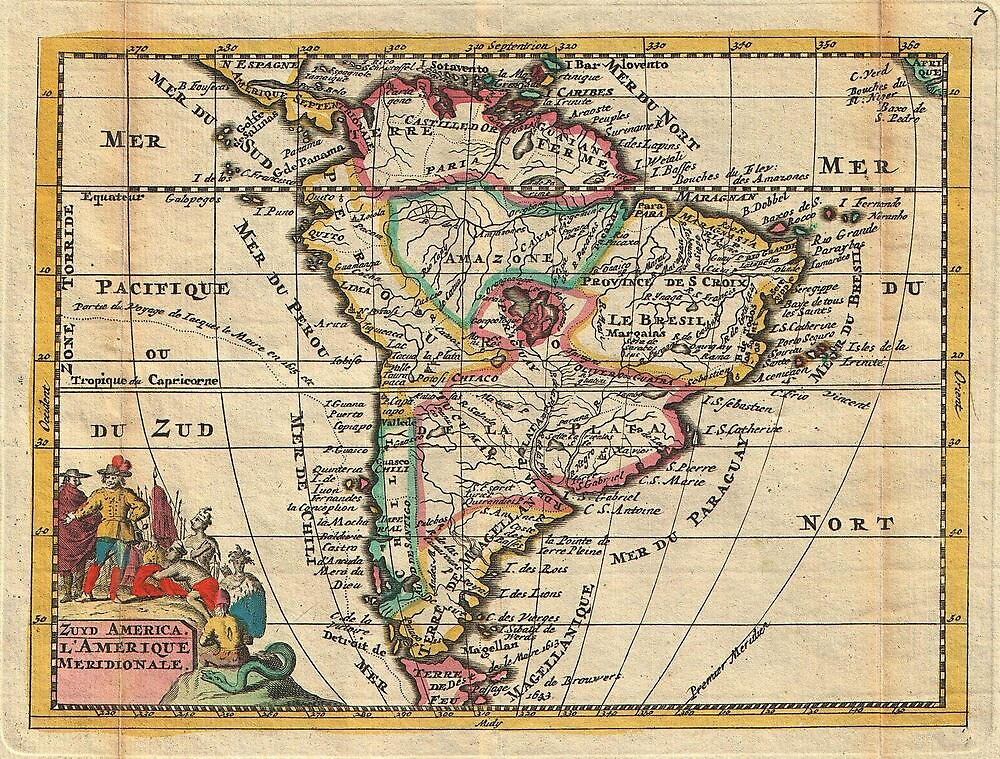 Vintage Map of South America (1747) by alleycatshirts