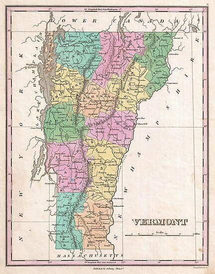 Vintage Map of Vermont (1827) by alleycatshirts