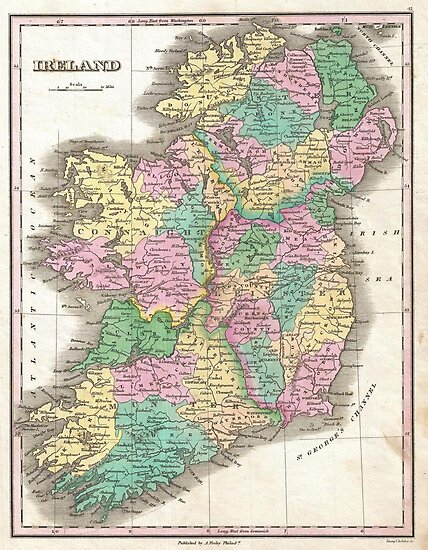 Vintage Map of Ireland (1827) by alleycatshirts