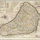 Vintage Map of Barbados (1736) by alleycatshirts