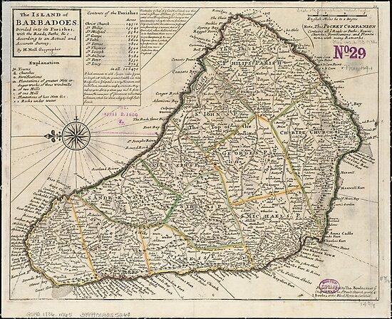 Vintage Map of Barbados (1736) by alleycatshirts