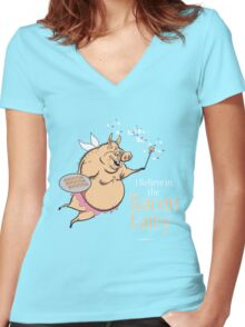I believe in the BACON FAIRY! Women's Fitted V-Neck T-Shirt
