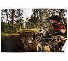 Quad rider jumping Poster