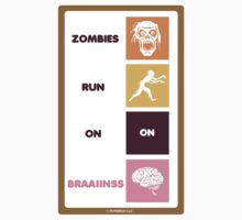 Zombies Run On Brains STICKER! by Humerus