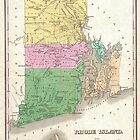 Vintage Map of Rhode Island (1827) by alleycatshirts