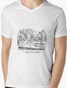 """Alice In Wonderland """"Mad Tea Party""""   Mens V-Neck T-Shirt"""