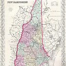 Vintage Map of New Hampshire (1855) by alleycatshirts