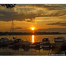 Docked Boats at Sunset Photographic Print