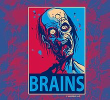 BRAINS Zombie Poster iPad Case by Humerus