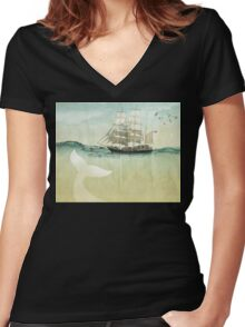 White Tail Women's Fitted V-Neck T-Shirt