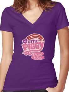My Little Piggy - Bacon is Magic Women's Fitted V-Neck T-Shirt