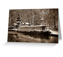 Frozen Narrowboat on Kennet and Avon Canal Greeting Card