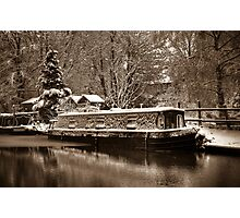 Frozen Narrowboat on Kennet and Avon Canal Photographic Print