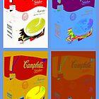 4 campbell's soup boxes by paul edmondson