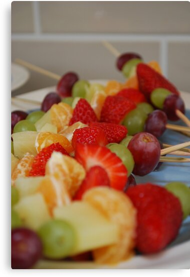 Rainbow Coloured Fruit Kebabs by Geraldine Miller