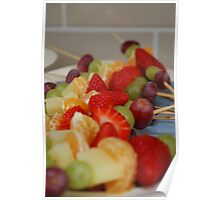 Rainbow Coloured Fruit Kebabs Poster