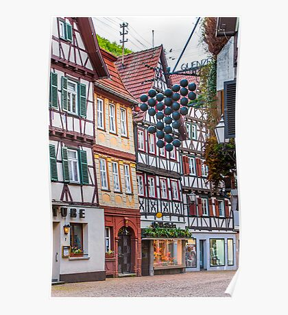 Half timbered houses. Poster
