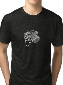 Nikon FE with MD-12 Motor Drive Drawing WHITE INK Tri-blend T-Shirt