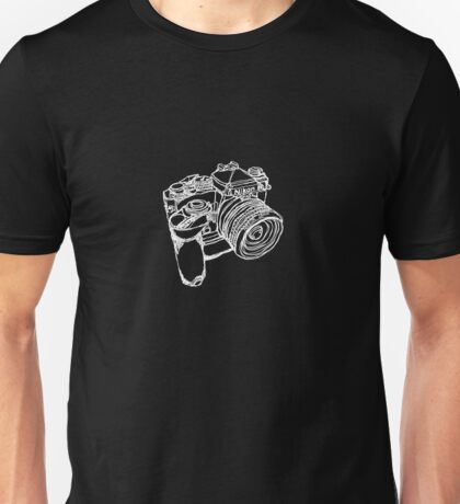 Nikon FE with MD-12 Motor Drive Drawing WHITE INK Unisex T-Shirt