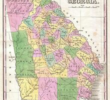 Vintage Map of Georgia (1827) by alleycatshirts