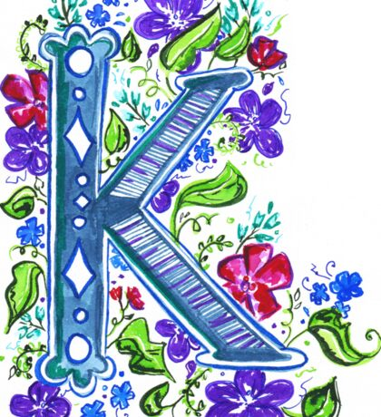Letter K Illustrated Watercolor Wildflowers Sticker