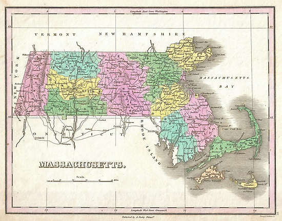 Vintage Map of Massachusetts (1827) by alleycatshirts